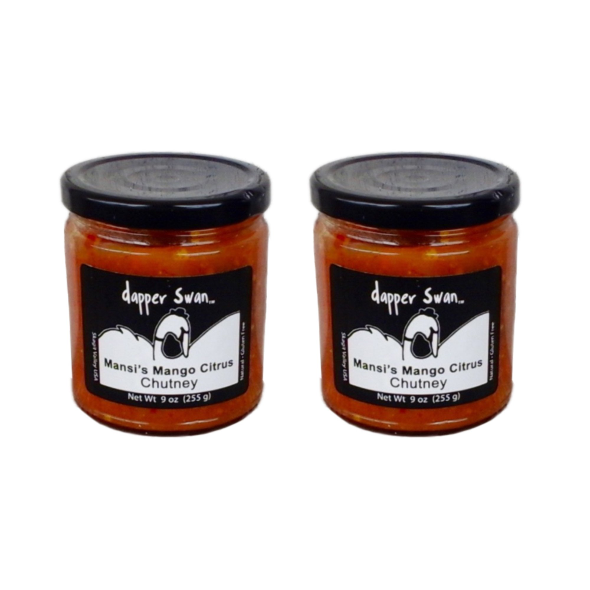 Mango Artisan Gourmet Chutney, Two 9-oz Jars - All Natural, GF, Vegan, No Fat, Made in USA