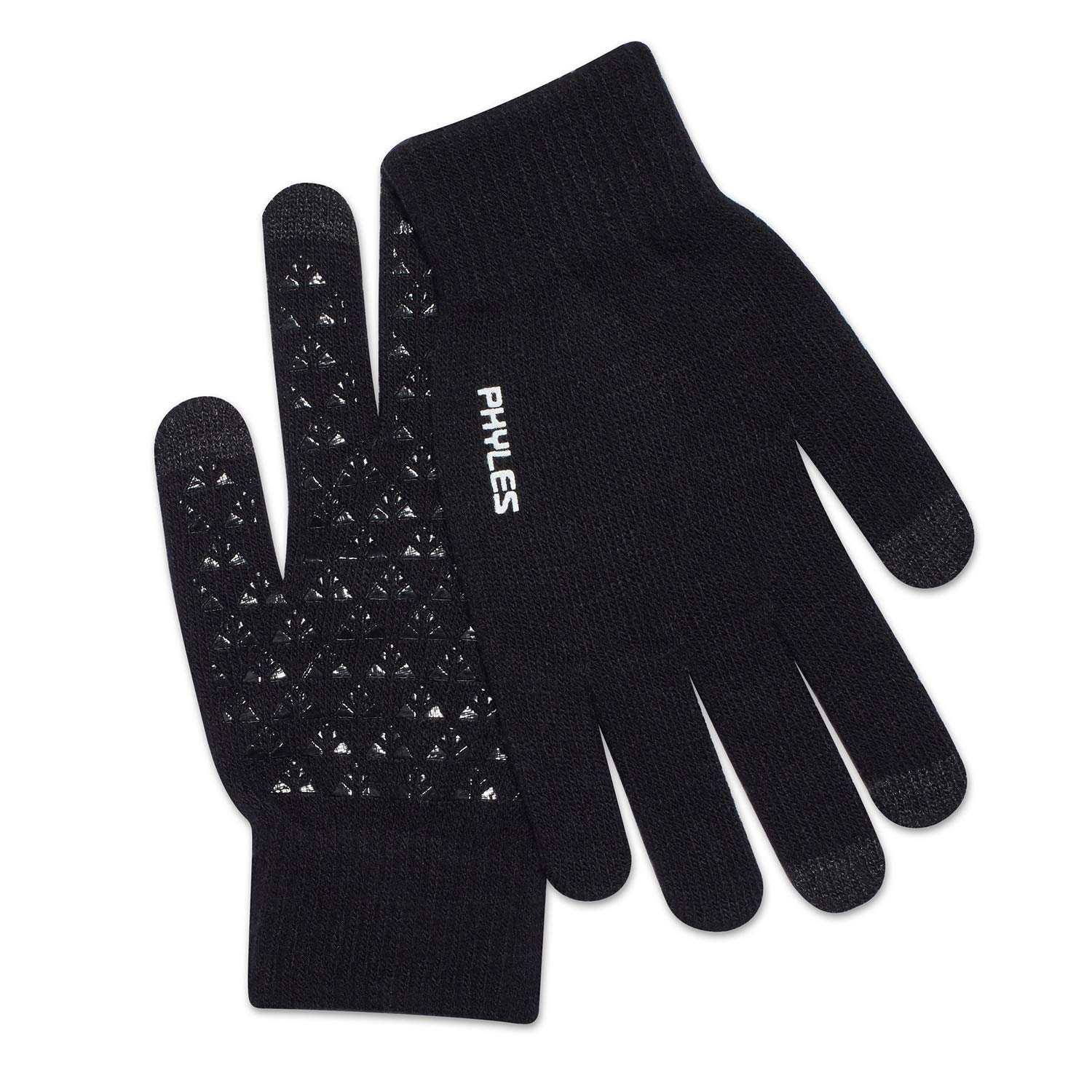 PHYLES Winter Knit Gloves Touchscreen Gloves Women Men Thermal Texting Gloves Running Gloves (Black, L)