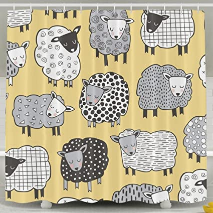 Sheep Shower Curtain Set Bathroom Accessories With Hooks