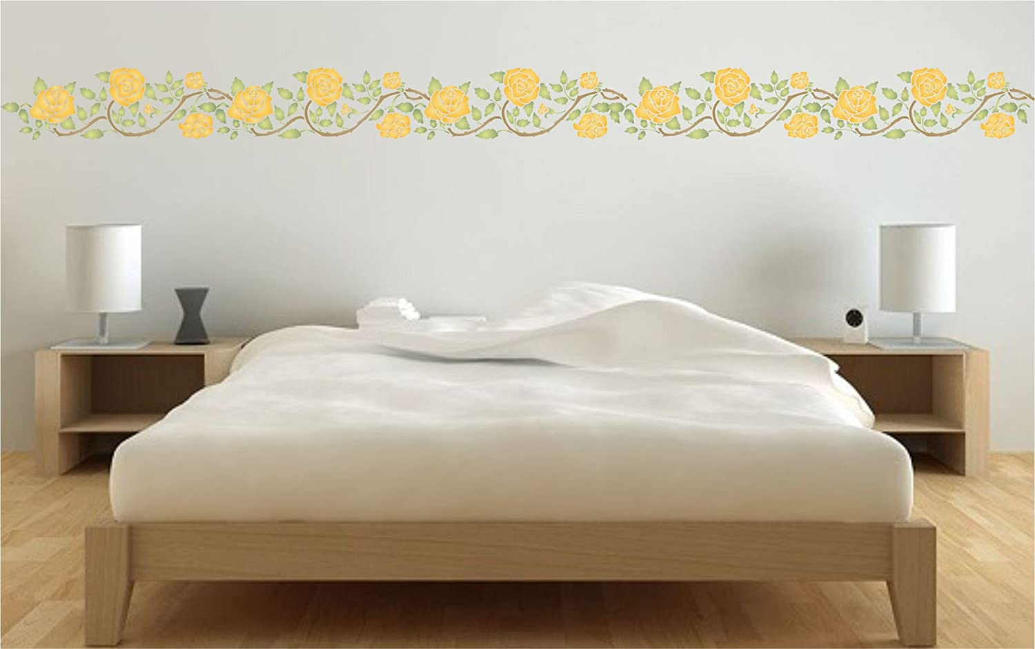 Amazon rose border stencil size 145w x 45h reusable amazon rose border stencil size 145w x 45h reusable wall stencils for painting best quality wall border flower stencil rambling rose use on amipublicfo Gallery