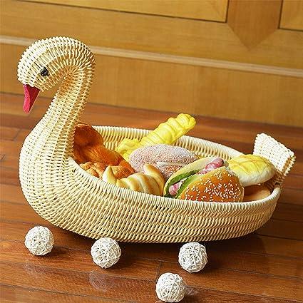 Cesta de ratán para frutas, imitación de cisne, bandeja para frutas, cesta de aperitivos vegetales, novedosa forma de animal, ratán antiguo para ...