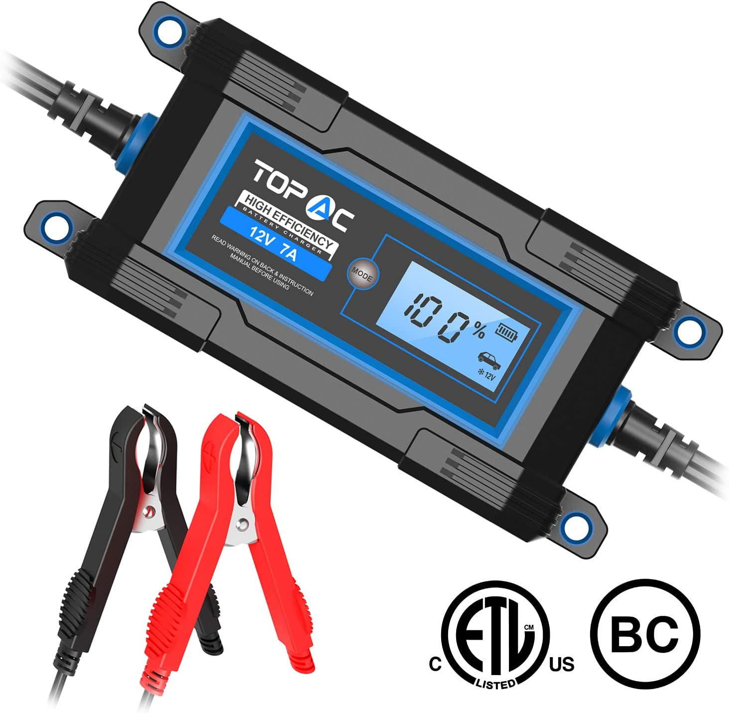 TOPAC 3.5/7A 6/12 Volt Automatic Car Battery Charger for Automotive, Motorcycle, Boat & Marine, RV, Toys, Power Tool, Lawn & Garden Battery Systems
