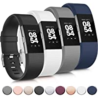 Tobfit Sport Bands Compatible with Fitbit Charge 2, 4 Pack, Wristbands for Women Men, Small/Large