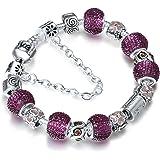 A TE® Bracciale Charms da donna e ragazza crstalli viola beads catena sicurezza Regalo #JW-B22