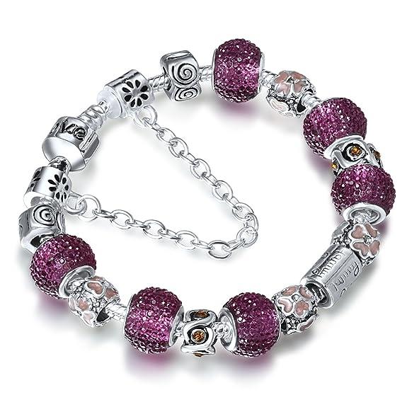 29 opinioni per A TE® Bracciale Charms da donna e ragazza crstalli viola beads catena sicurezza