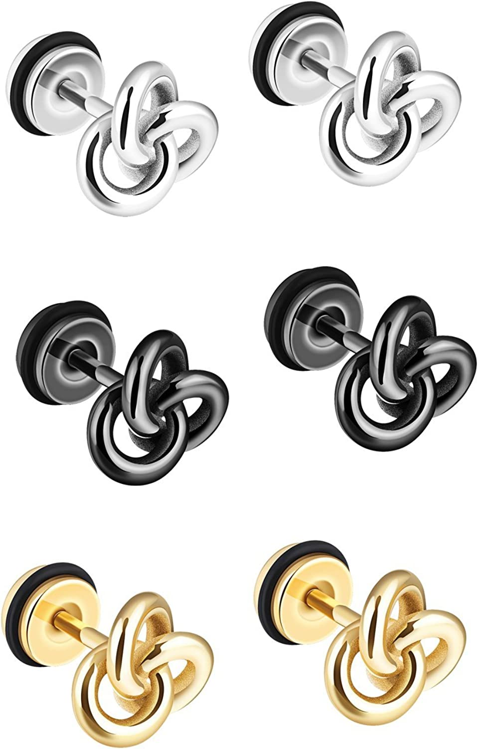 TEMICO 1-3 Pairs Silver Black Gold Tone Stainless Steel Twist Love Knot Post Stud Earrings For Men Women