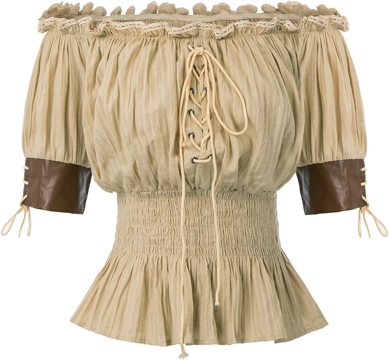 Belle Poque Top Mujer Steampunk Blusa Victoriana Medieval Top Retro Vintage Mid-Long Lace Flying 100% ALGODÓN