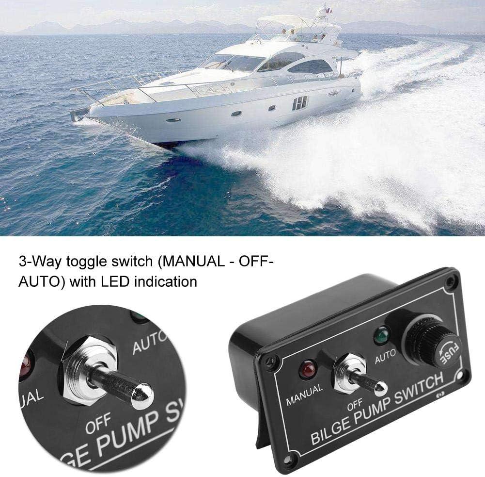 indicateur /à DEL noir 12V CC panneau de commutateur de pompe de cale manuel//d/ésactiv/é//automatique pour les bateaux de VTT EBTOOLS Commutateur /à bascule /à 3 voies