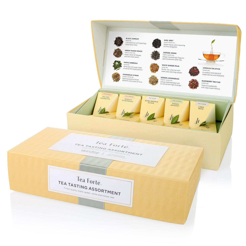 Tea Forté Tea Tasting Assortment Petite Presentation Box Tea Sampler, Assorted Variety Tea Box, 10 Handcrafted Pyramid Tea Infusers - Black Tea, White Tea, Green Tea, Herbal Tea