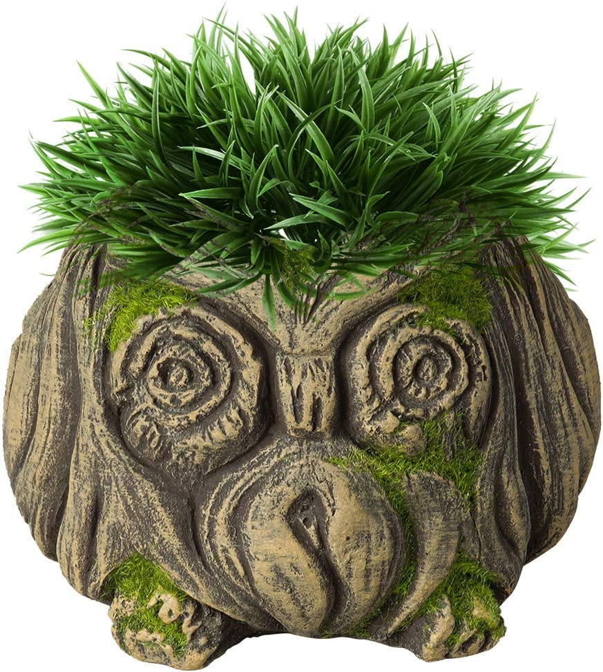 2 in 1 Succulent Pot & Pen Pot Holder -2.7 Inch Owl Small Plant Pot with Drainage Hole, Cement Made for Succulent Cactus Flower Bonsai Plant Pot & Handicraft for Home Office Restaurant Decor and Gift