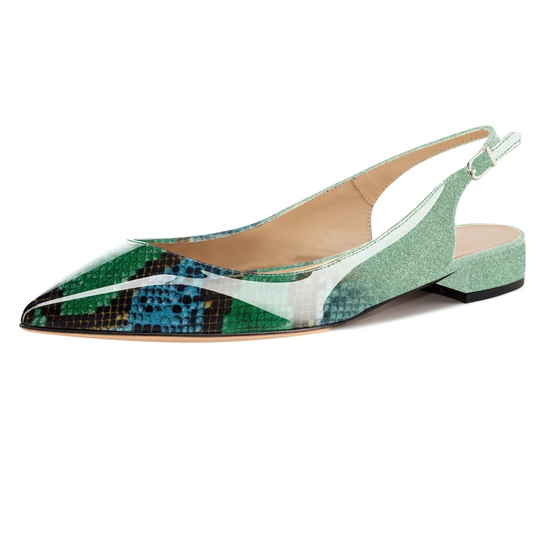 Eldof Women Low Heels Pumps | Pointed Toe Slingback Flat Pumps | 2cm Classic Elegante Court Shoes B07FP88465 8 B(M) US|Green-snake