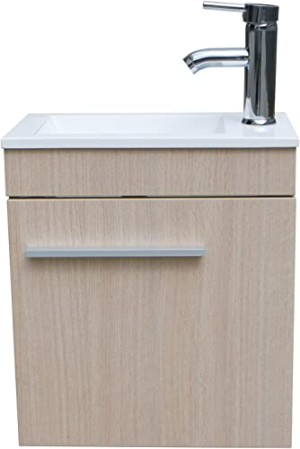 Sliverylake Bathroom Vanity and Sink Combo Wall Mounted Wood Cabinet Top Undermount Vessel Sinks Faucet Set