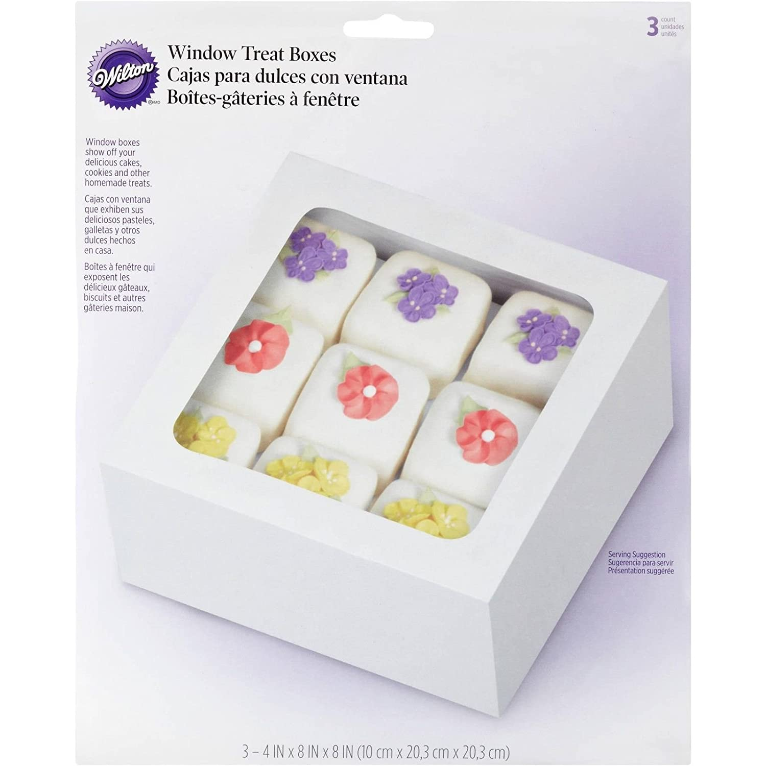 Amazon.com: Wilton White Large Treat Boxes 3 Ct Dessert Pastry Cookie Display Travel Case: Kitchen & Dining