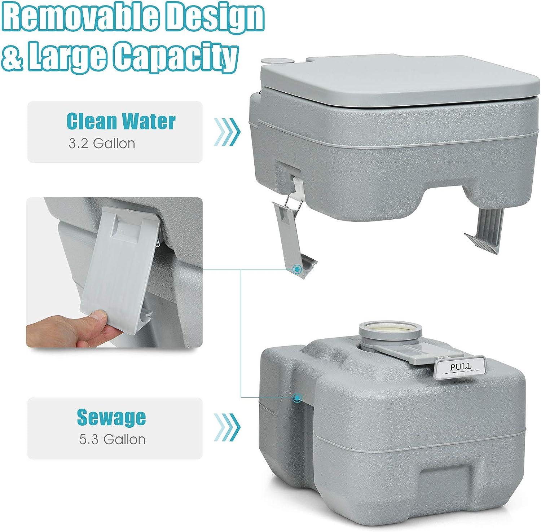 Giantex 5 Gallon Portable Toilet Flush Travel Outdoor Camping Hiking Toilet Potty