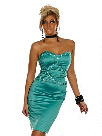 celebrity style bandeau satin pencil dress strapless boob tube ...