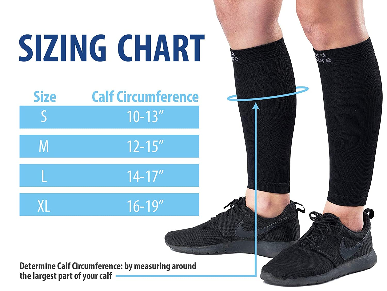 - 10120-02 CAT NatraCure Compression Calf Sleeves Choose Size: S,M,L,XL One Pair