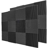BEWAVE Mousse acoustique Isolation acoustique Panneaux, son Proof Rembourrage Wedge carrelage Rideau pour studio murale Piano pièce 2,5 x 30,5 x 30,5 cm (24 Pièces)