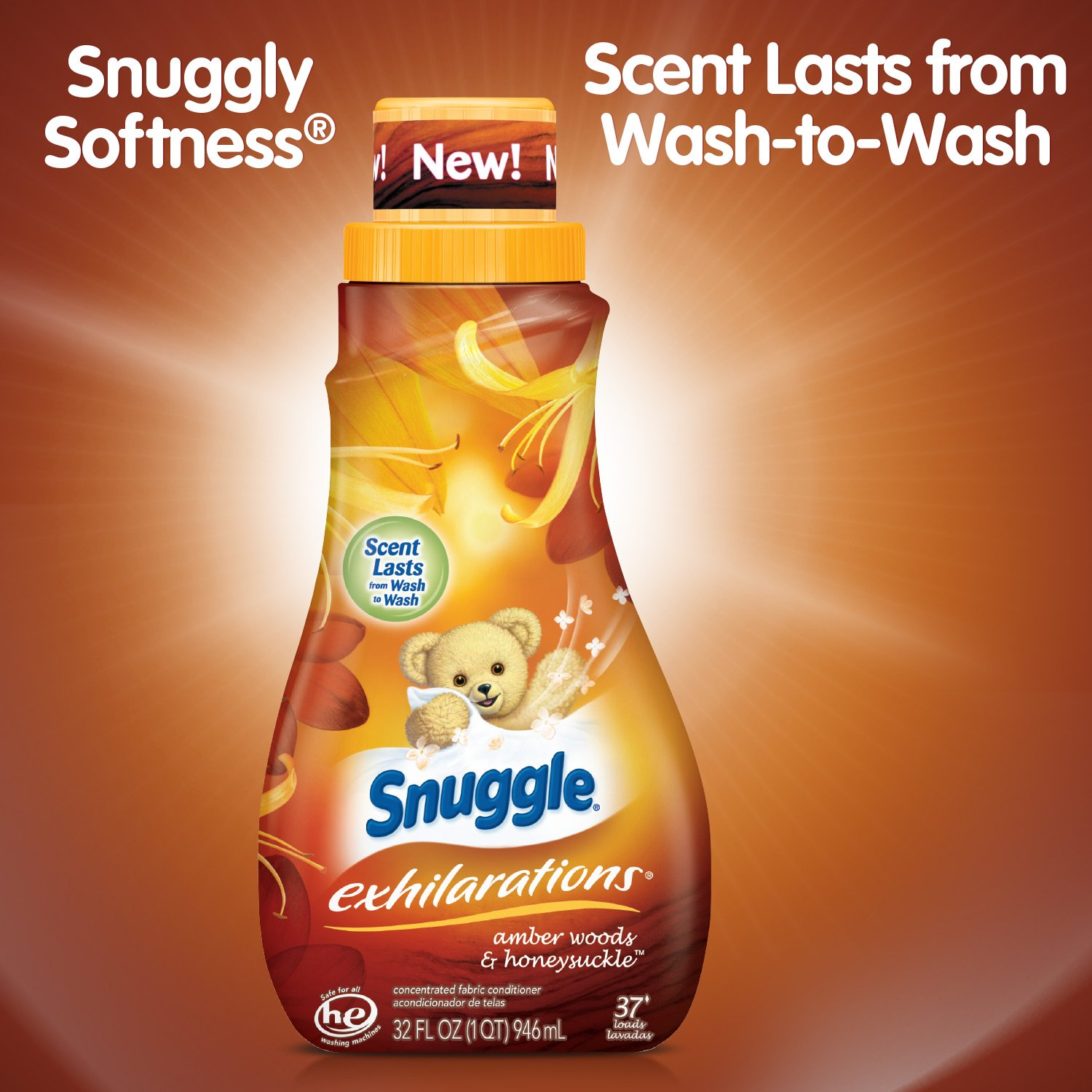 Snuggle Exhilarations Liquid Fabric Softener, Amber Woods & Honeysuckle, 32 Fluid Ounces (Pack of 9) by Snuggle (Image #4)