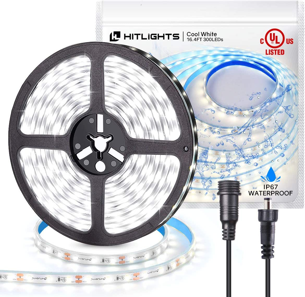 Amazon Com Hitlights Led Strip Lights Waterproof Cool White 16 4ft 300leds 5000k Led Tape Light 23 5w 12v 2835 Ul Listed Dimmable Led Strips For Home Outdoor Under Cabinet Decorations Home Improvement