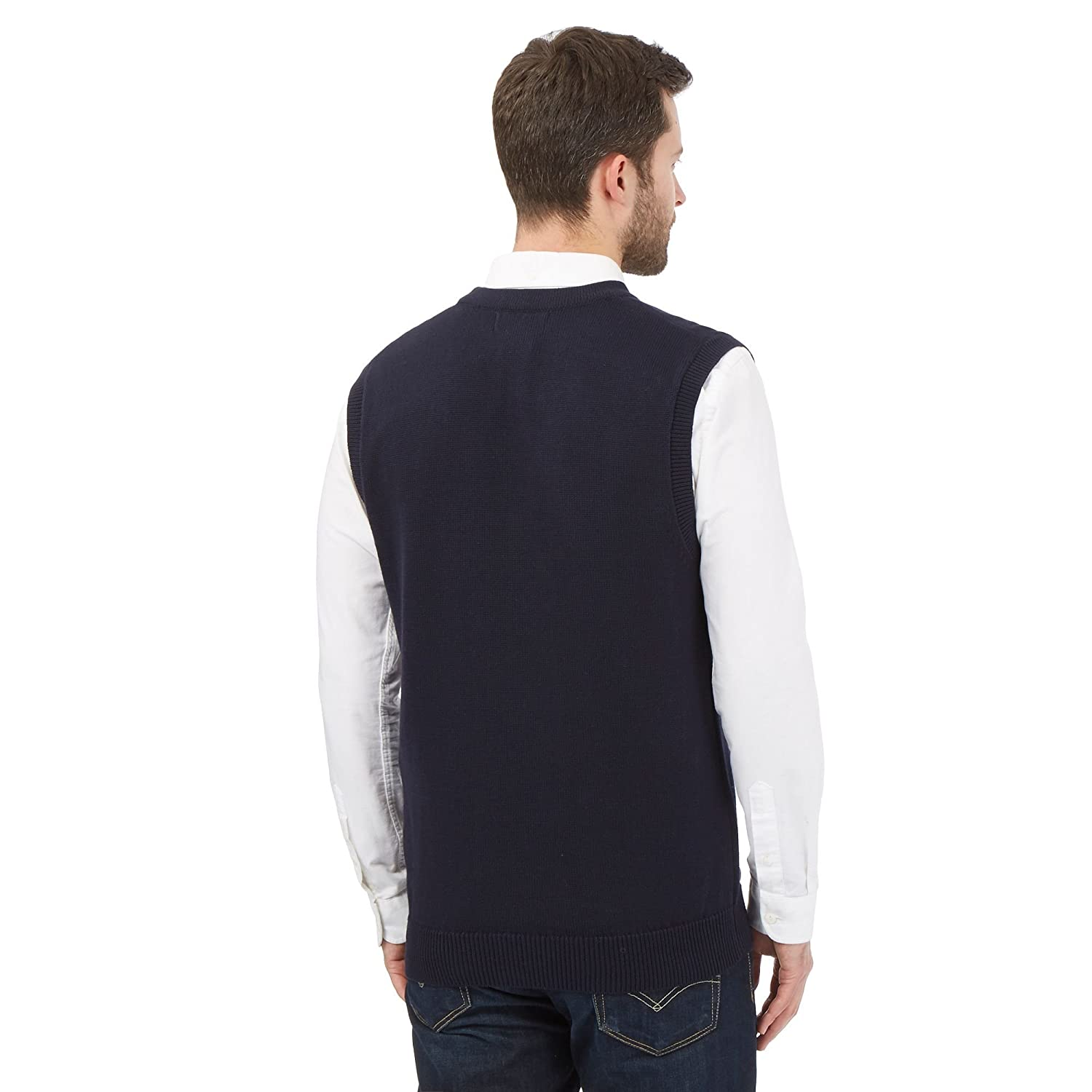 Maine New England Mens Navy Cotton Sleeveless Cardigan