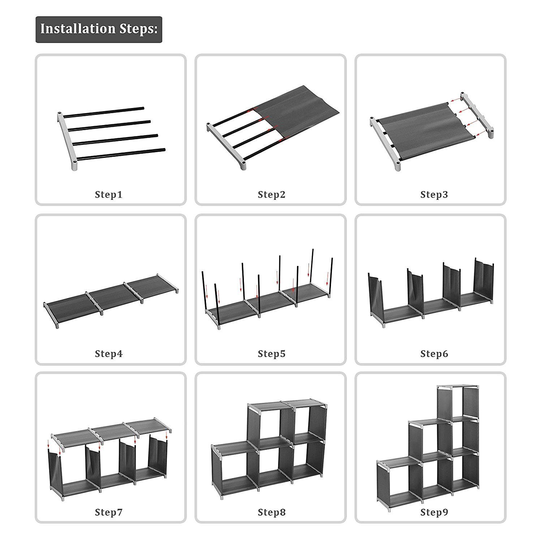 Kaluo DIY Adjustable Cube Organizer, Bookcase, Storage Cabinet, Bookshelf, Wardrobe Closet with 9 Cube Organizer(US STOCK) (Grey)