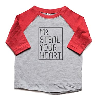 7a5fbe751 Mr. Steal Your Heart Toddler Boy Valentine's Day Shirt Raglan Kids Tees  Funny Tshirt