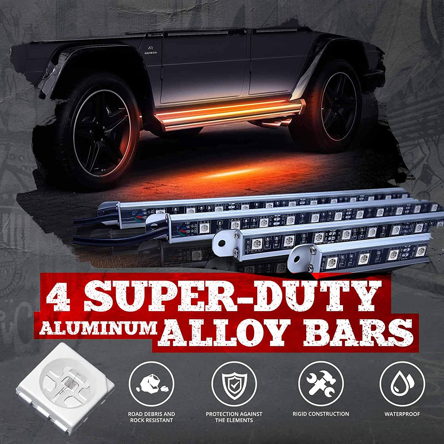 SUVs Sound Sync Mode OPT7 Aura PRO Bluetooth Running Board Nerf Lights 16 Color Options RV Side Bar Step Light LED Kit for Trucks 1 YR Warranty- iOS /& Android Enabled 4 Bars