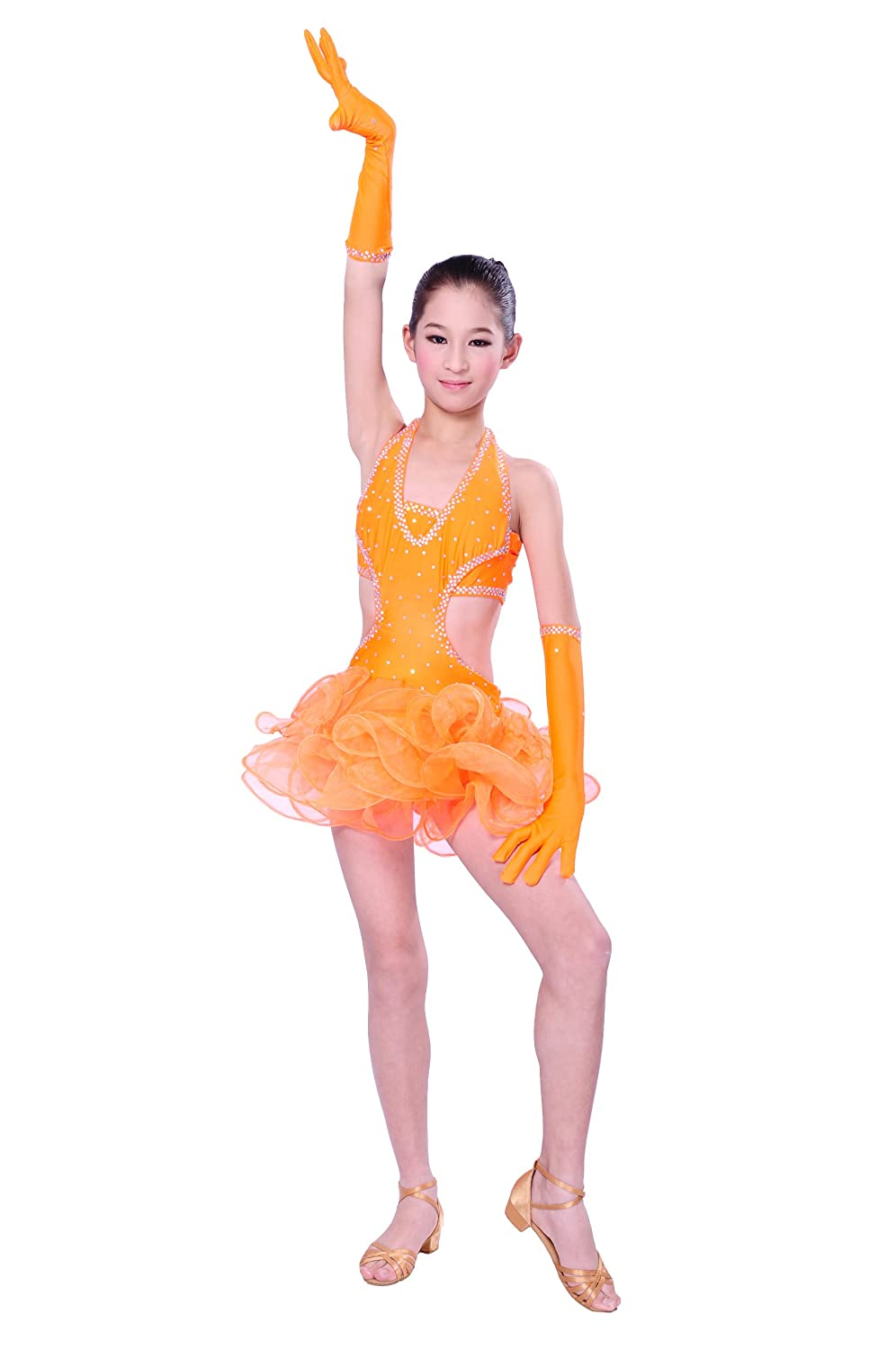 Colorfulworldstore Child Girls/Ladies Latin dance dress-Over all dress in 3sets-Oranger