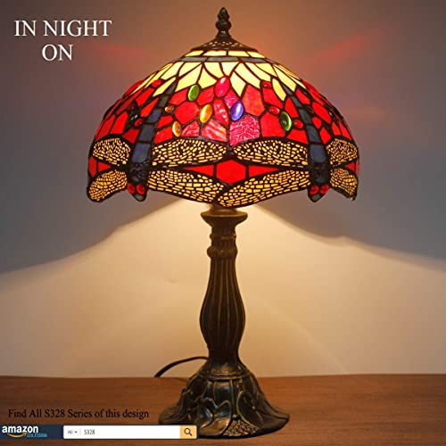 Tiffany Lamp LED Bulb Included Red Yellow Stained Glass Crystal Bead Dragonfly Style Table Light W12H18 Inch S328 WERFACTORY LAMPS Parent Lover Living Room Bedroom Desk Bedside Antique Art Craft Gift