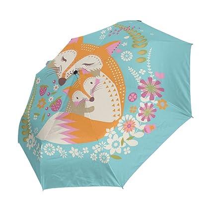 bennigiry paraguas Fox Love UV anti ligero sombrilla elegante reverso 3 plegable gota resistente paraguas Regalos especiales para negocios y personal, ...