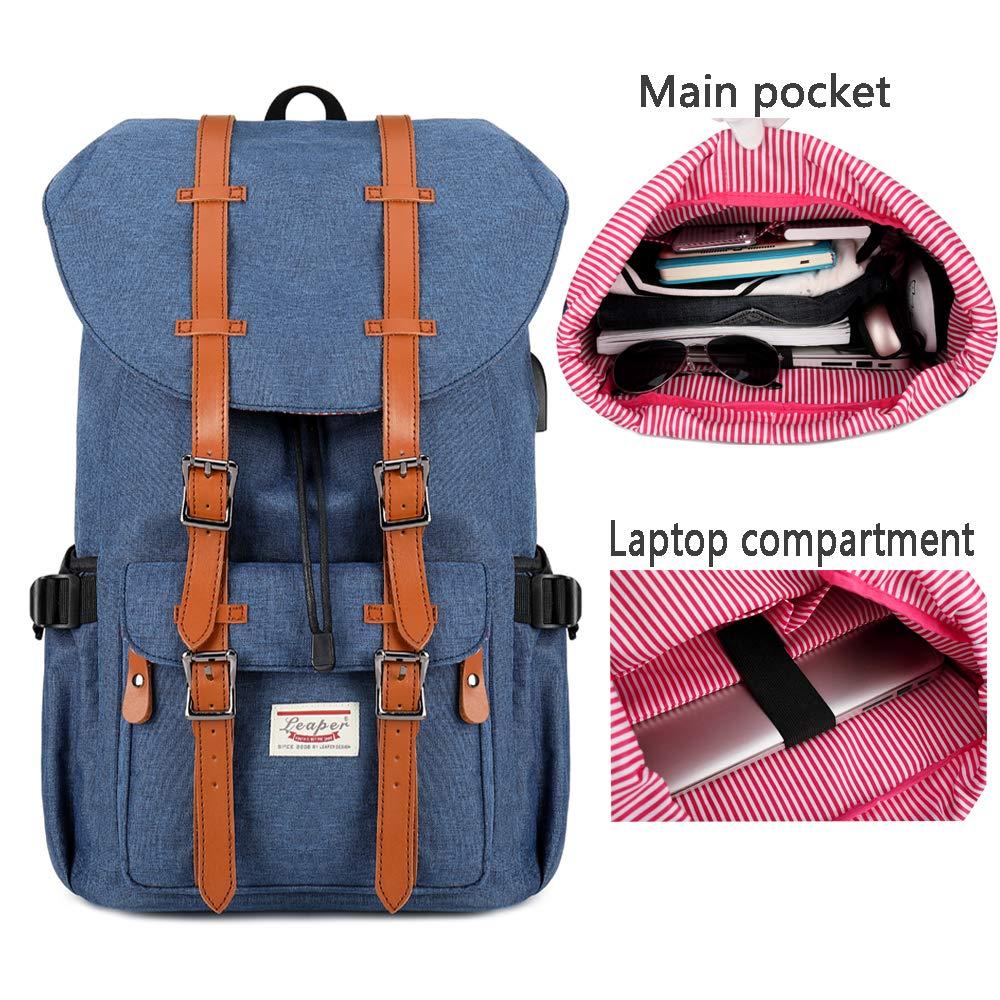 Mochila Port/átil 15,6 Mochila Hombre Port/átil Lona Mochilas Mujer Casual Bolsa de Viaje Mochila de Estudiante Ligero Laptop Bolsa al Aire Libre para Viajar Deporte C/ámping Azul