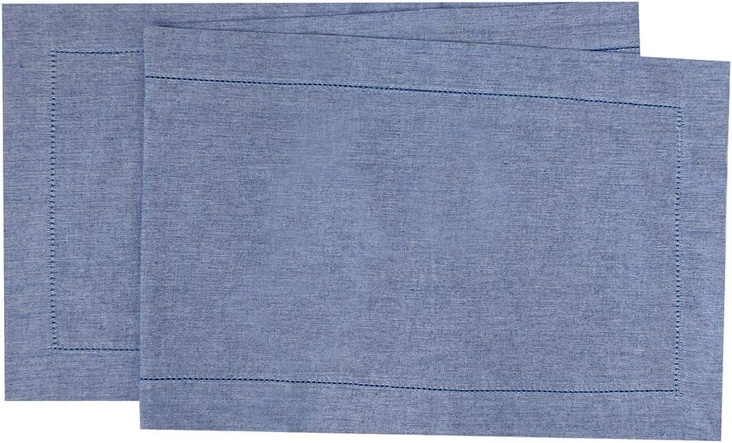 C&F Home 16X72 Runner, Hemstitch Blue Table Runner Blue