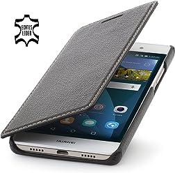 StilGut Book Type Case senza clip, custodia in vera pelle a libro per Huawei P8 Lite, nero