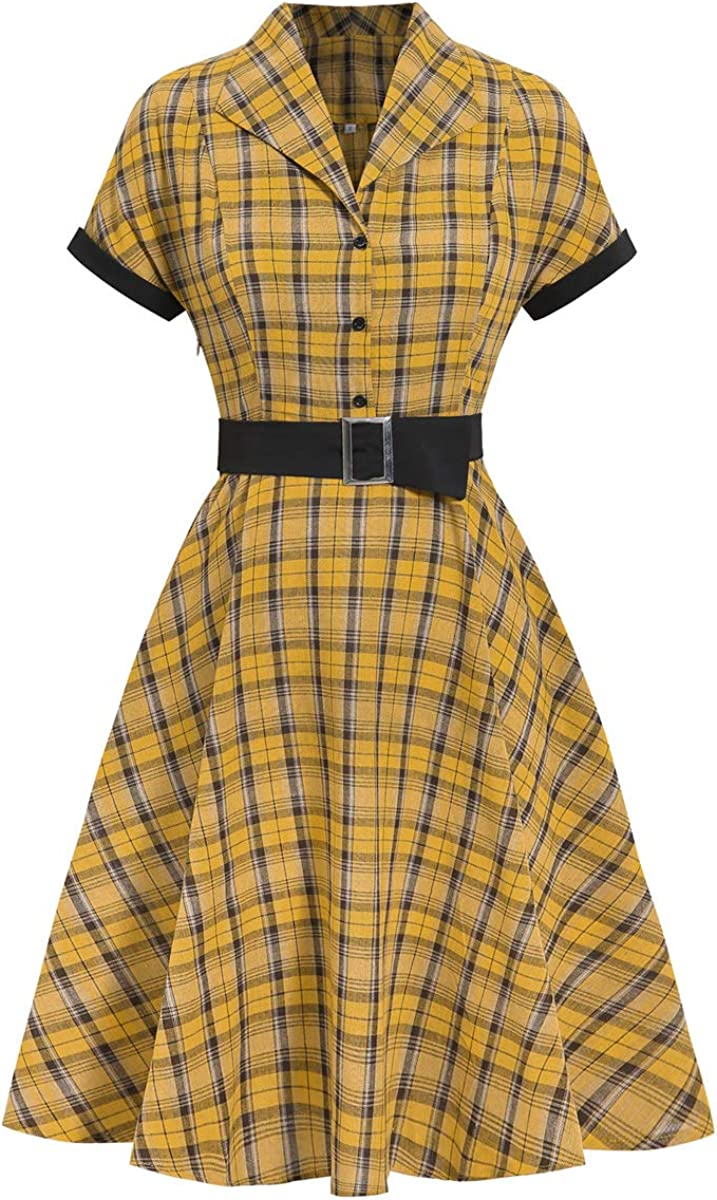 Vintage Shirtwaist Dress History Wellwits Womens Black Yellow Check Shirt Collar Office Work Vintage Dress  AT vintagedancer.com