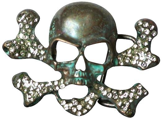 7e6518c1eb2 Fronhofer Boucle de ceinture à tête de mort dans un coloris argent  vieilli turquoise à strass pour les sangles de 4 cm de large