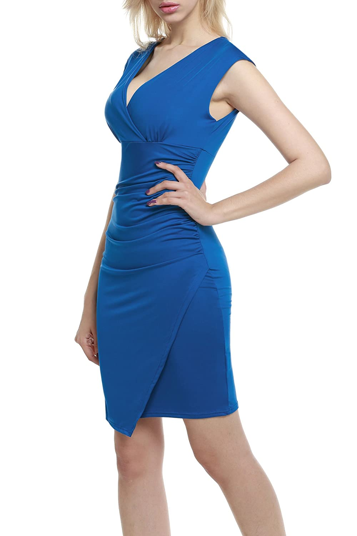 Meaneor damen sexy wickelkleid tiefer v ausschnitt partykleid dekolletiert sommerkleid elegant - Sommerkleid v ausschnitt ...