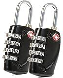 2x Baxxtar Living -- TSA Koffer Schloss -- 4 Fach Zahlenschloss (Schwarz)