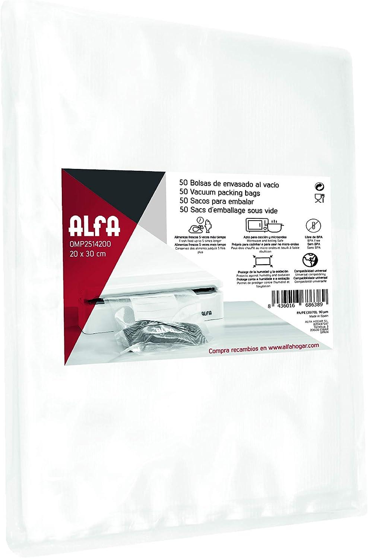 Alfa 25142 - Set de 50 bolsas para envasar al vacío, 20 x 30 cm