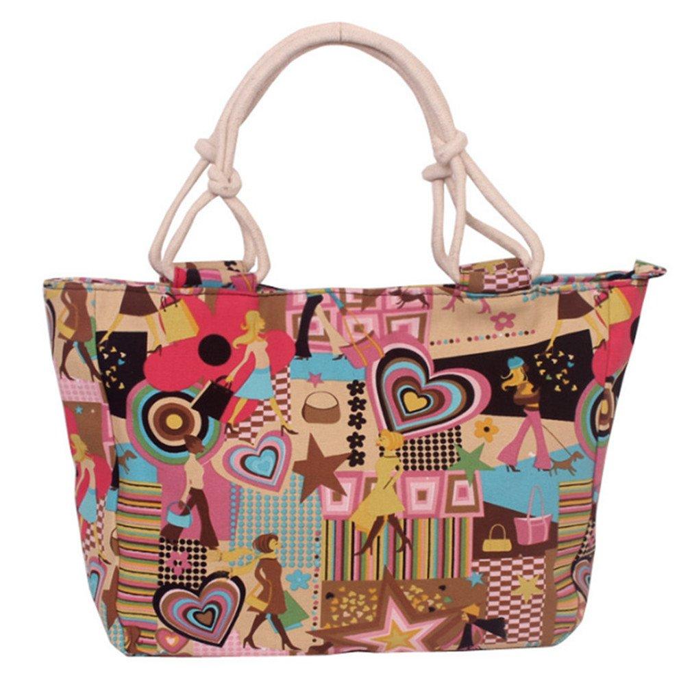 Women Handbag Tote Flower Printing Canvas Graffiti Shoulder Bag Style17 one size