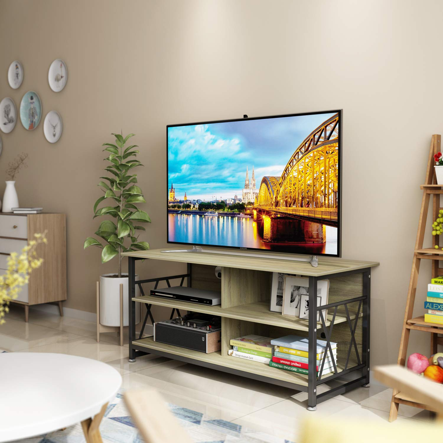 TV Stand DEWEL 47 TV Console Mid-Century Modern Entertainment Center with Storage Media Stand Home Living Room Furniture with 4 Open Storage Shelves