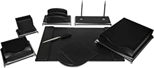 Majestic Goods Organizer, Executive Office Desk Organizer, Black and Silver (W1054)