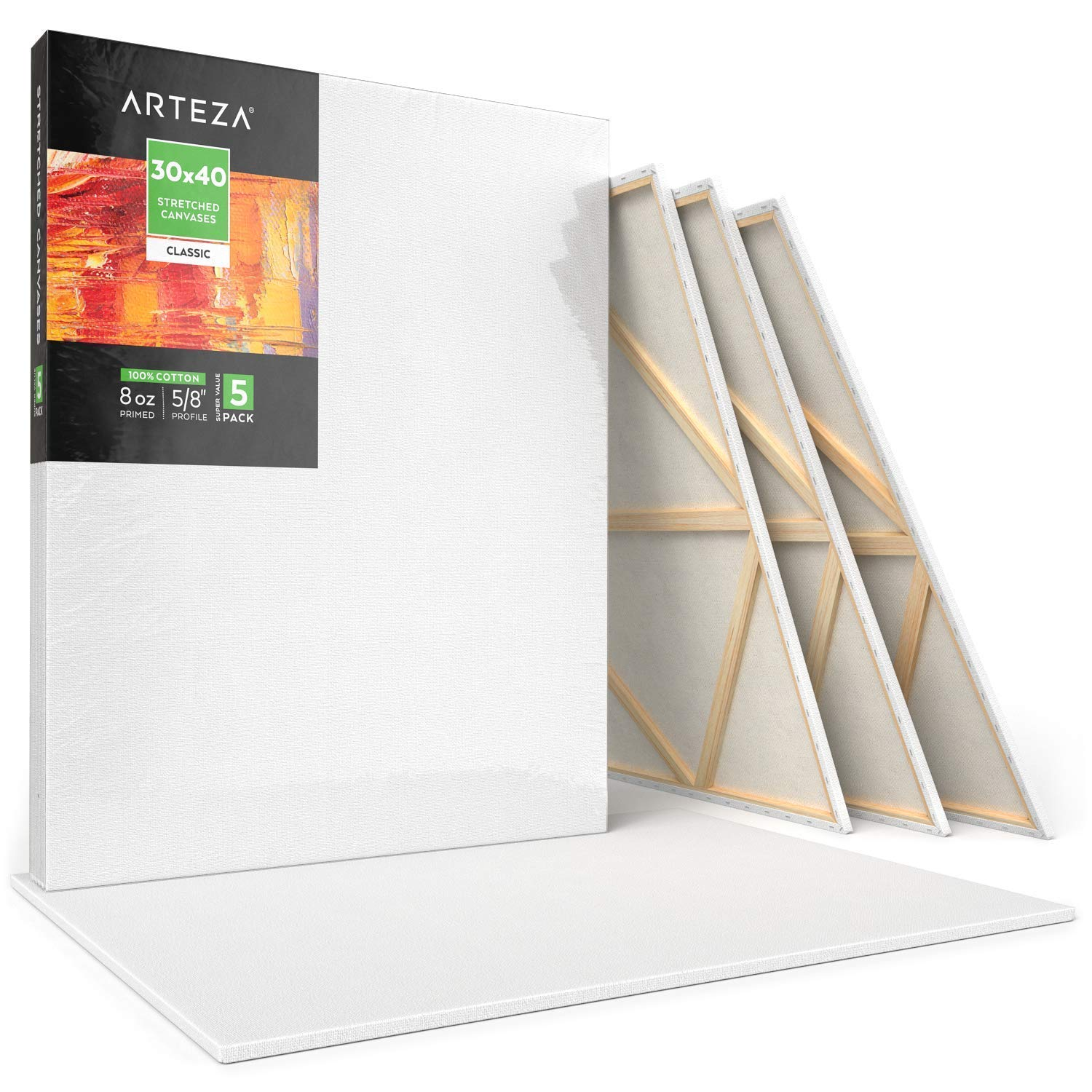 "Arteza 30x40"" Stretched White Blank Canvas, Bulk Pack of 5, Primed, 100% Cotton for Painting, Acrylic Pouring, Oil Paint & Wet Art Media, Canvases for Professional Artist, Hobby Painters & Beginner by ARTEZA (Image #3)"