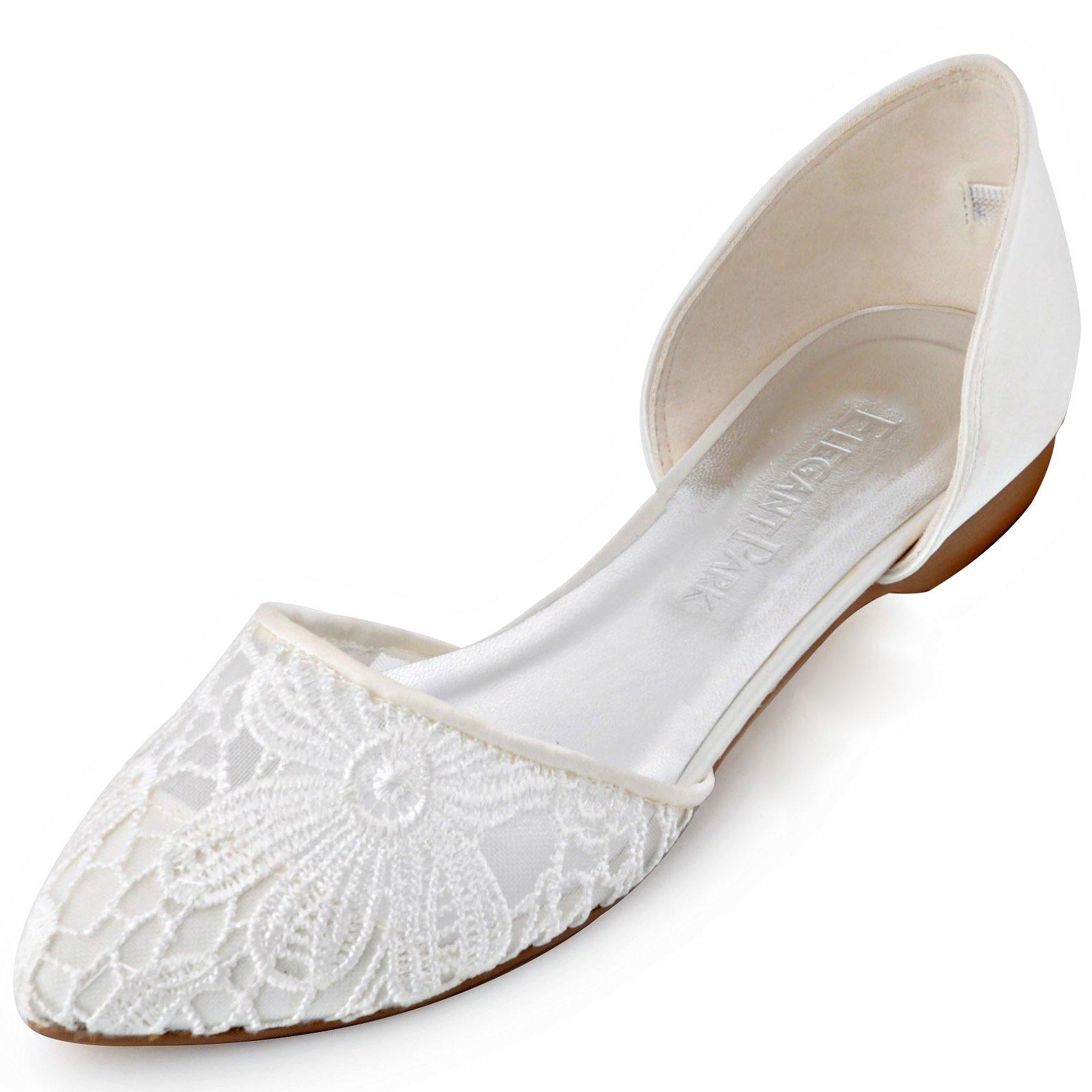 ElegantPark FC1527 Women Comfort Heel Pointed Toe Lace Bridal Wedding Flats Ivory US 7