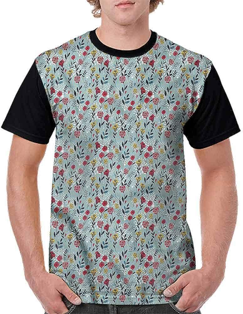 Round Neck T-Shirt,Poinsettia Blossoms Art Fashion Personality Customization