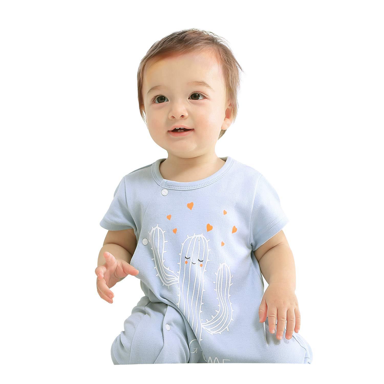 pureborn Newborn Baby Boys Girls Cute Cartoon Romper Outfits Short Sleeve Summer Bodysuit Blue 0-3M/59cm by pureborn