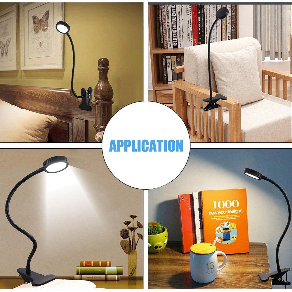W-LITE LED USB Clip on Reading Light Eye-Care Desk Lamp for Kid Adjustable Gooseneck Table Lamps Nightlight for Bed Headboard & Computers 2 Color Modes (Black)