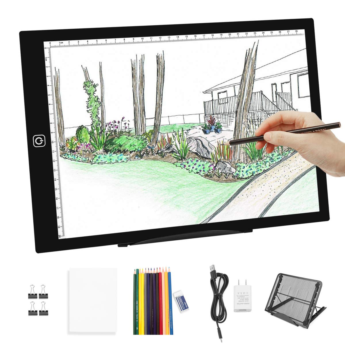 A4 LED Light Box Tracer-Dimmable Artcraft Tracing Light Box Light Board w Light Box Pad Stand,12pcs Colored Pencils and Adapter for Artists Drawing,Diamond Painting,Sketching,Animation