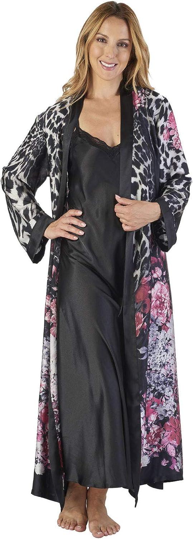 TALLA XL. Slenderella GL2786 Women's Animal Satin Floral Kimono and Nightdress Set