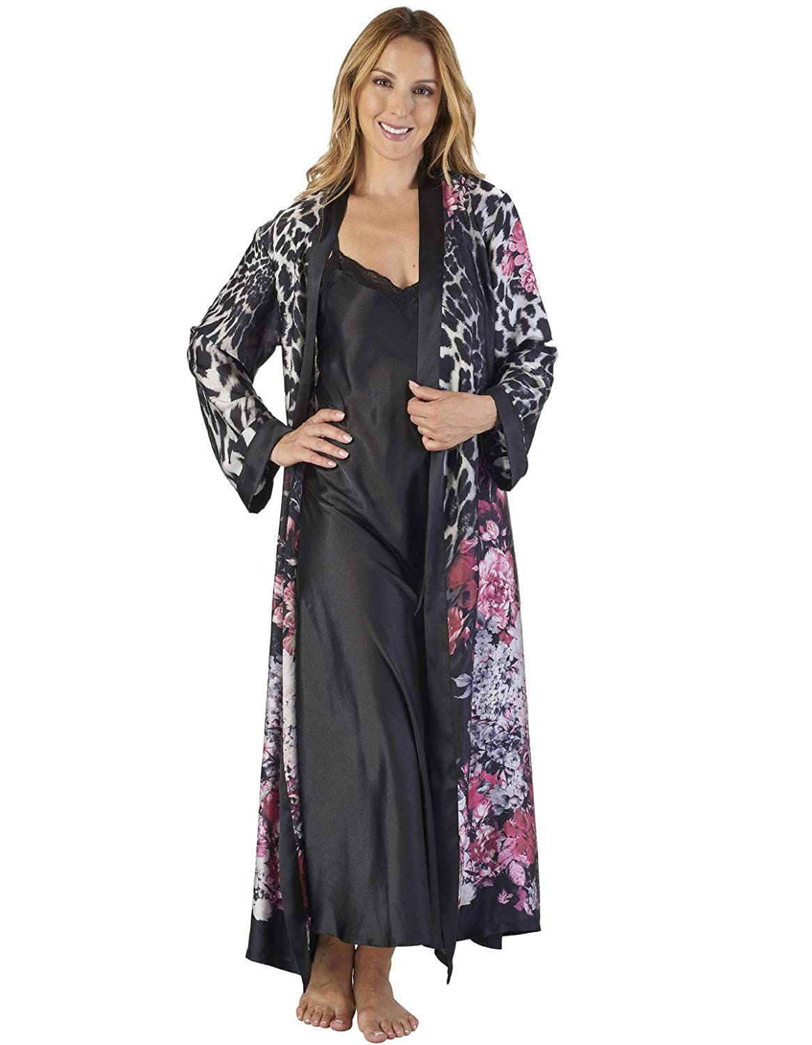TALLA X-Large. Slenderella GL2786 Women's Animal Satin Floral Kimono and Nightdress Set