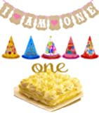 "TKOnline 1st Birthday Photo Prop Kit ,""One"" Birthday Cake Topper,I Am One Banner For Baby Birthday,5PCS Kid's Birthday Cake Hat,Party Hats"